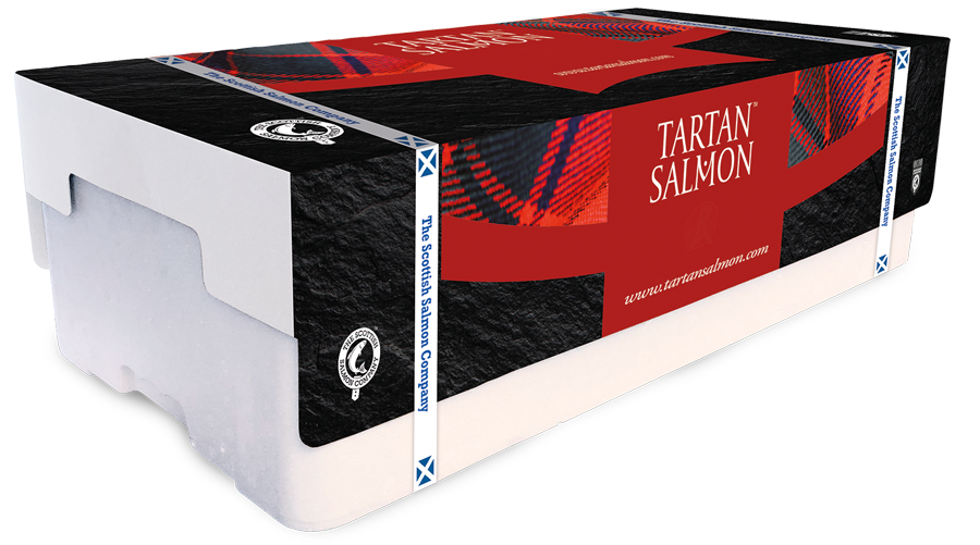 box of tartan salmon with branded cover